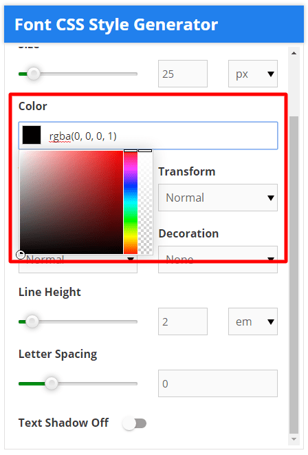 font css style generator font color