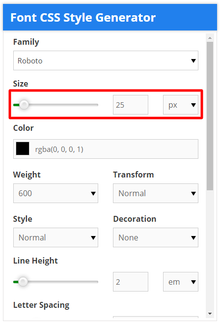 font css style generator font size