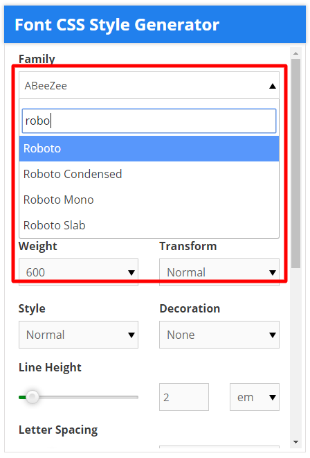 font css style generator select font