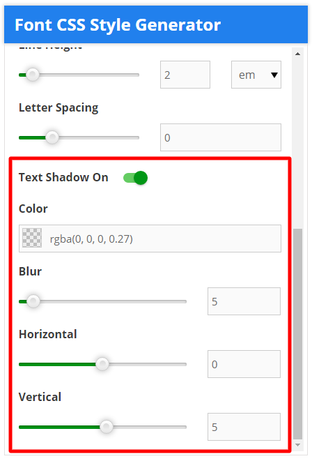 font css style generator text shadow